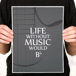 LIFE without MUSIC Guitar Quote Print Various Color by iNKthePRINT, $20.00