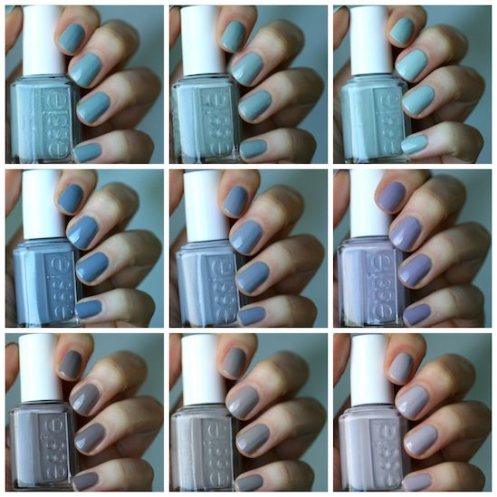 Essie Greys Comparison: Maximillian Strasse Her, Who Is The Boss, Parka Perfect, Petal Pushers, Cocktail Bling, Bangle Jangle, Love & Acceptance, Master Plan & Chinchilly | Essie Envy