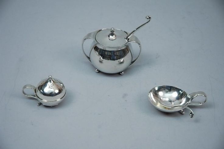 Georg Jensen Condiment Set - 3-Pieces - Scandinavian - Danish Sterling Silver  #GeorgJensen
