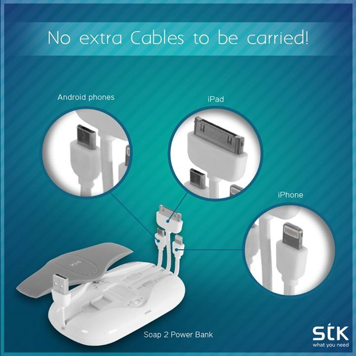 To build comfort with style #STKSoap #PowerBank has its own cable management for different devices - No more tangled wires or extra cables to be carried! #STKAccessories