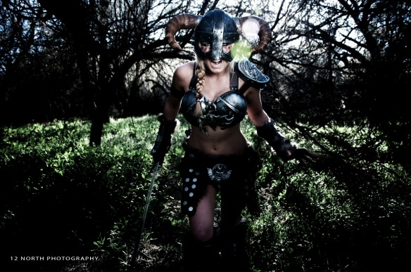 Arizona Cosplayer Jessica Nigri who modeled a costume she made based on a character from the video game Skyrim
