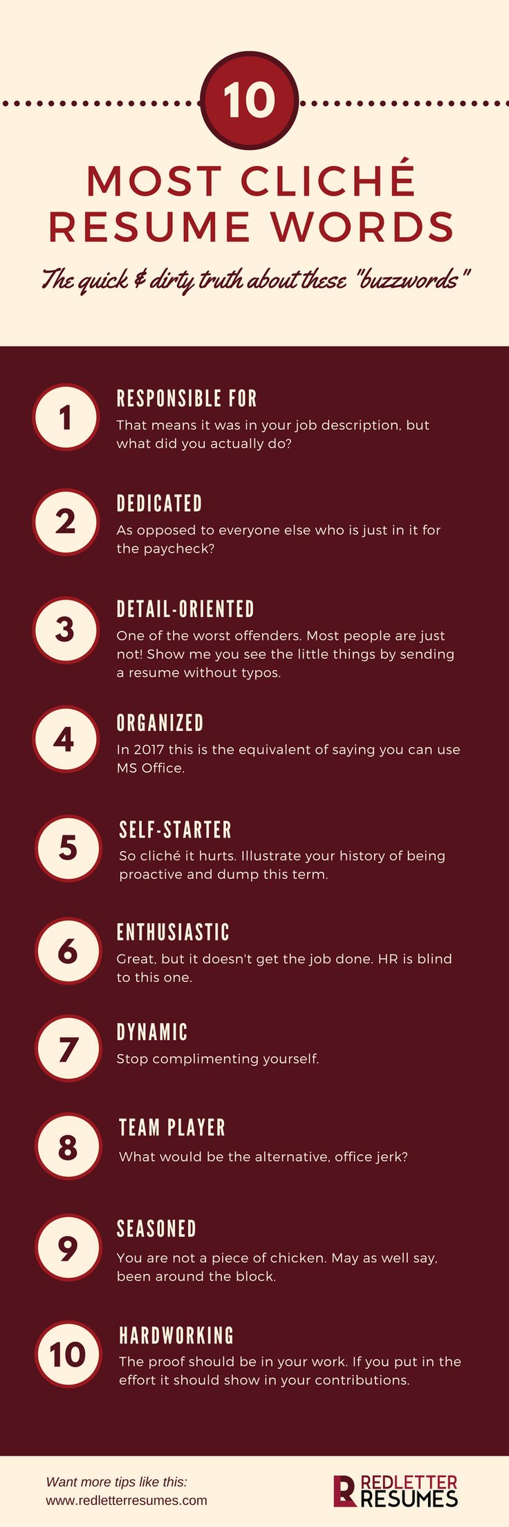 10 Most Cliche Resume Words | @redletterresume // Resume Tips // Resume Design // Resume Skills // Resume Help