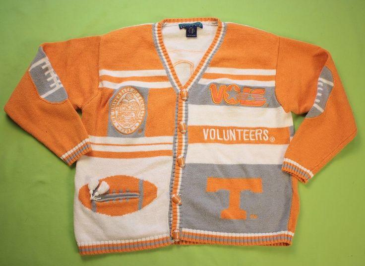University Tennessee Cardigan Sweater Sz Large Football UT Orange White Womens #EaglesEye #Sweater