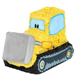 Brilliant bulldozer construction pinata.Pinata measures 44cm x 30cm x 18cm.In the shape of a big yellow bulldozer, this bright pinata is the perfect way to complete your Construction themed party. Fill up the digger with favours and treats and get each child to take a turn hitting it with a pinata stick to make the treasures fall out.This pinata needs to be hit with a stick (sold separately) and comes unfilled ready for you to put your own sweets and treats into it.A plastic loop attached…