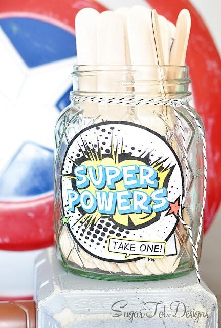"Superhero Boredom Buster! Use craft sticks to glue list of ""superhero"" activities kids can do.  Includes printable pdf   Sugar Tot Designs"