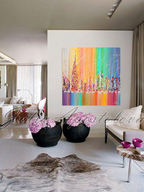 Cityscape painting, Urban, Abstract Painting, Rainbow Art Print, Dubai Skyline, Cityscape Art Print, Rainbow Abstract, UAE, Julia Apostolova by juliaapostolova. Explore more products on http://juliaapostolova.etsy.com