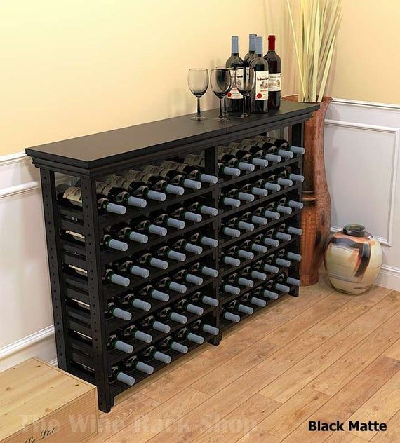 Maple Wine Table Solid Wood Wine Storage Rack For 72 Bottles In Cherry Mahogany Tobacco Black Matte Or Antique Slate Finishes In 2020 Wine Storage Wine Rack Storage Wine Table