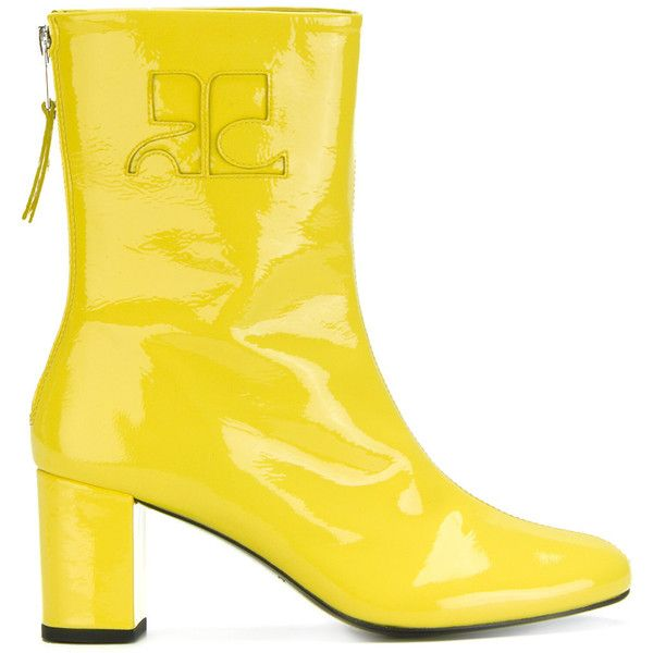 Courrèges retro zipped ankle boots ($335) ❤ liked on Polyvore featuring shoes, boots, ankle booties, ankle boots, bootie boots, zip boots, yellow ankle boots and zipper booties
