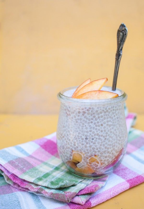 Simple Chia Pudding -      1/3 cup chia seeds     1 1/2 cups (almond, coconut, soy) milk     2 TB sweetener (honey, maple, agave)     1/2 tsp vanilla
