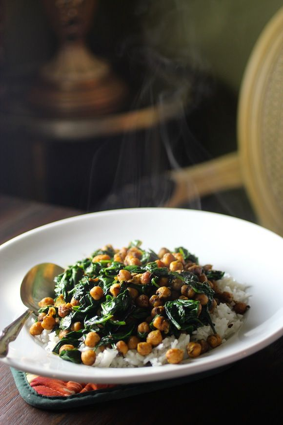 Spinach & Chickpeas in a Bengali Mustard Sauce - brown rice is the better option of course to add to this - NF