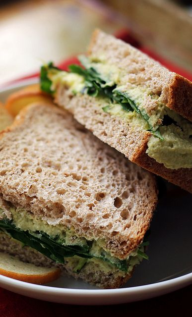 Roasted Zucchini, Garlic & Basil Hummus Sandwiches
