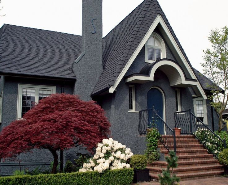 Creative Exterior Paint Color Schemes for Unique House : With Gray Exterior Paint Color Schemes Photos 13