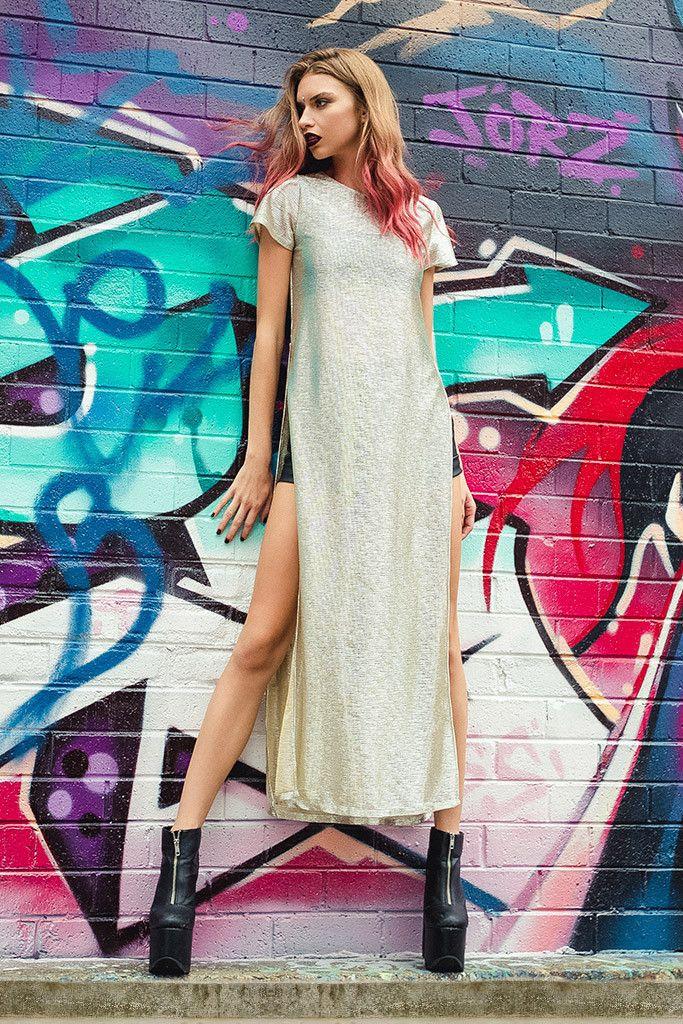 Goddess Split Maxi Tee - LIMITED – Black Milk Clothing