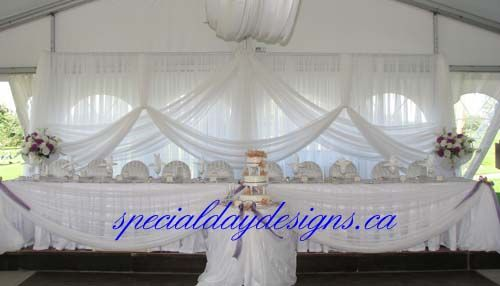 Tent backdrop & head table