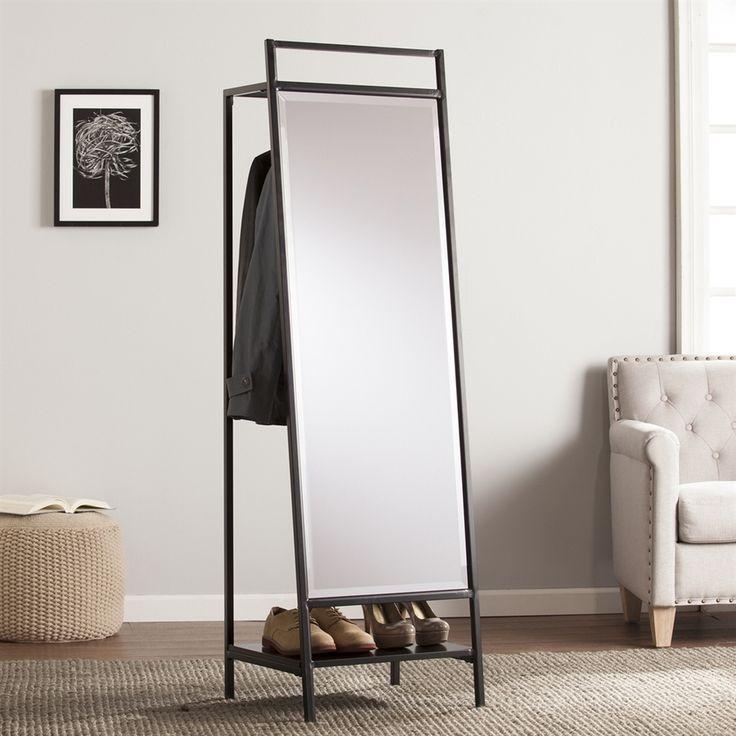 Boston Loft Furnishings Drappen 19.75-in x 65-in Black Beveled Rectangle Framed Contemporary Floor Mirror