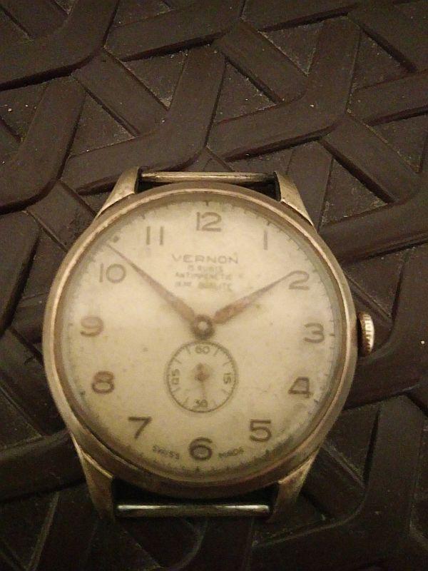 Vintage Vernon Swiss Made 15 Jewels Mechanical Handwinding Men Watch Rare  #Vernon