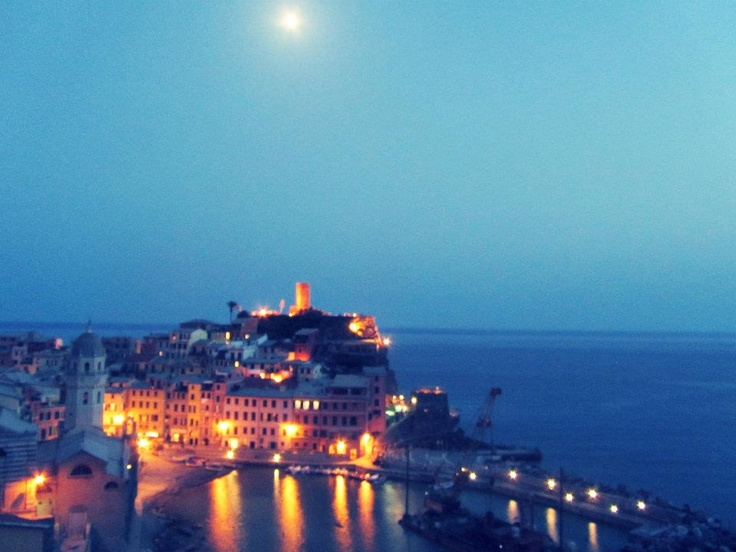 night shot looking over Vernazza, Italy