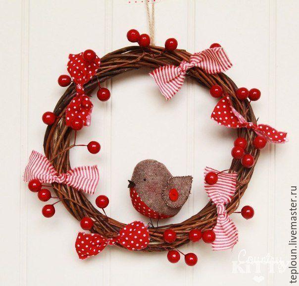 Купить Рождественский венок - зеленый, венок, хвоя, рождественский декор, интересный подарок, венок на дверь