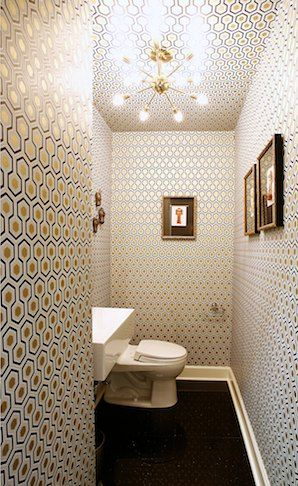 don't know why, but this Hexagon wallpaper is very popular in guest toilets! (even i used it once!)   37 Inspirational Ideas To Design A Guest Toilet | DigsDigs