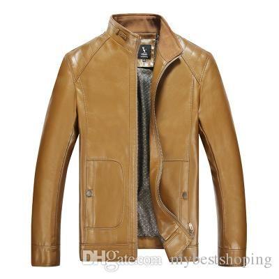 Fall New Winter Warm Mens Genuine Leather Jacket Men Retro Brown Sheepskin  Fur Coat Man Wool d384d986c0
