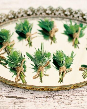 greenery twine boutonniere