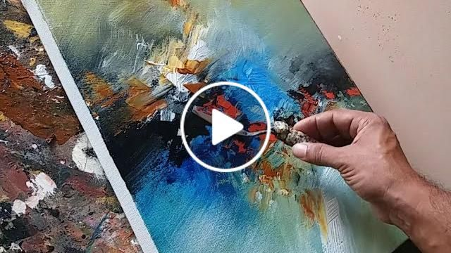 Demonstration of abstract painting in acrylics blending with flat brush and palette knife. Tools : palette knife and two inch flat brush Colors : burnt sienna and black (fluid) Cobalt blue, pursian blue, aqua green, Verm