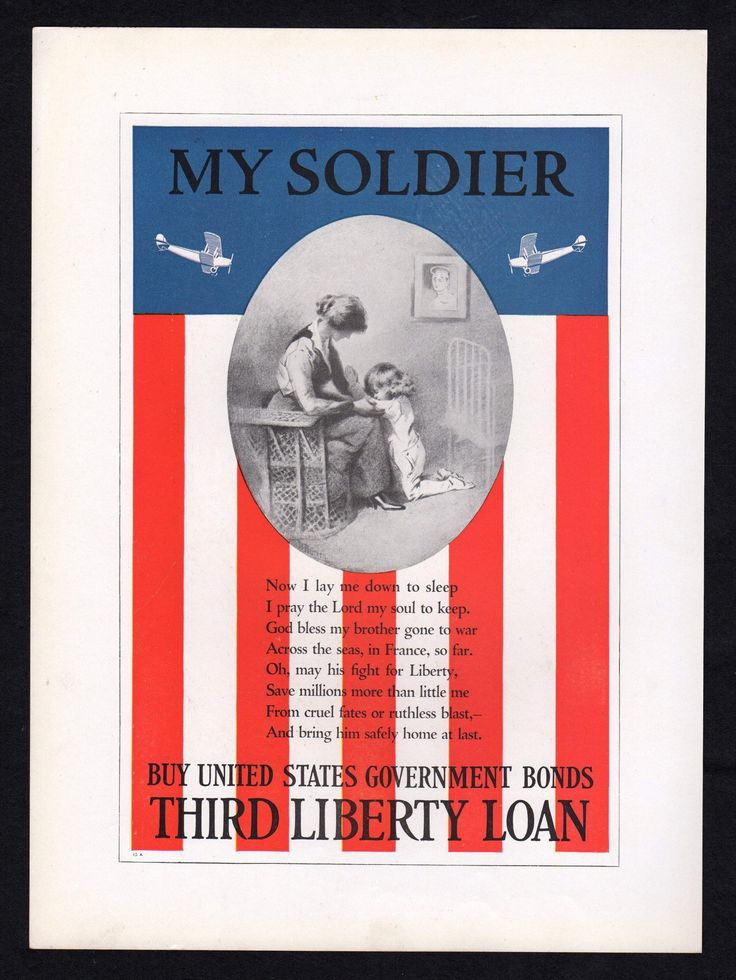 My Soldier Prayer Vintage WWI Patriotic American Flag Illustration Poster Print 1919