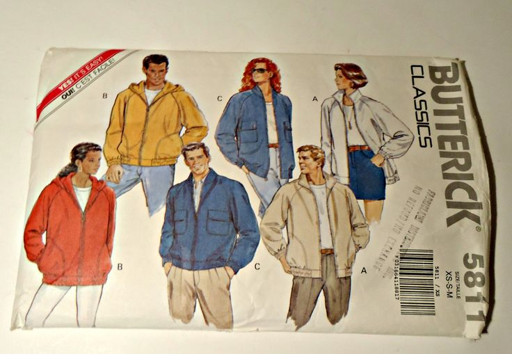 Butterick 5811  Mens Womens Misses Teens Jacket Unlined Jacket Size XS S M by TreasureCoveAlly on Etsy