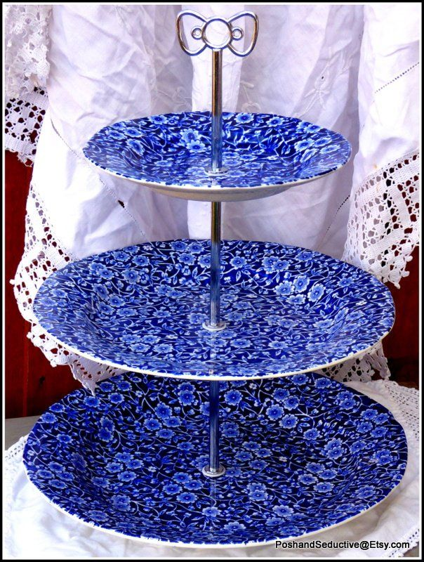 Burleigh china graduated plates of Blue Calico stunning pattern cake stand an exquisite Victorian afternoon tea centrepiece, precious gift