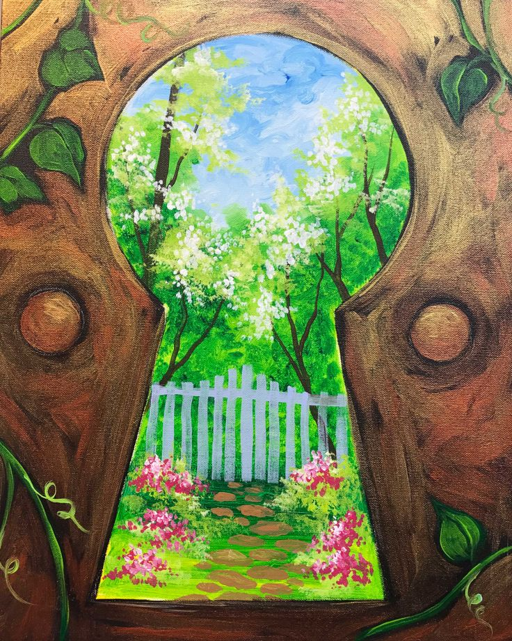 Secret Garden, view through a keyhole. Unique beginner painting idea.