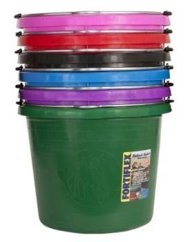 Fortiflex Flat Back Feed Bucket for Dogs/Cats and Small Animals, 24-Quart, Hunter Green by Fortiflex. $18.44. Resists cold weather. Easy pouring and empty. Exclusive fortally-epdm rubber hdpe blend construction. 24-quart flat back bucket; design becomes a wall bucket when interlocked with the wb-20 wall bracket (not included) will not wobble on the wall. general uses: watering, feeding, maintenance and general-purpose use around farm, home or industry. capacity mar...