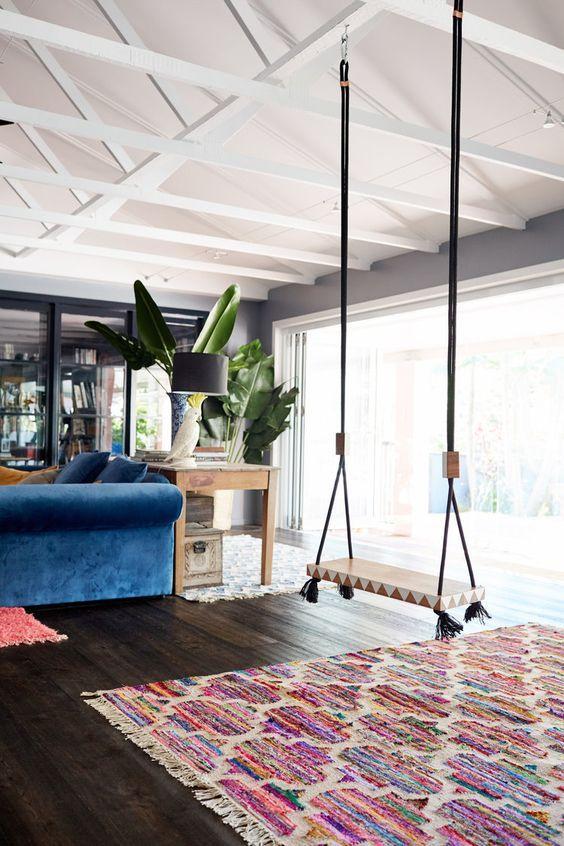 Une balancoire dans un salon   Inspiration interieur boheme   Stephanie Vaille