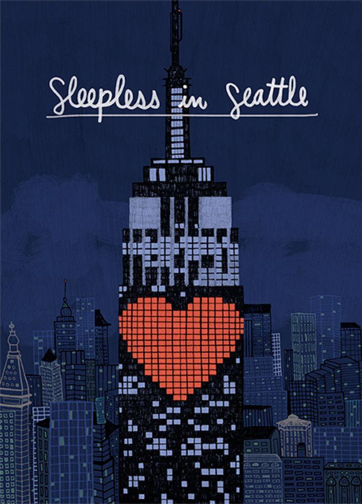 Sleepless in Seattle (1993) ~ Minimal Movie Poster by Daniela Manzotti #amusementphile