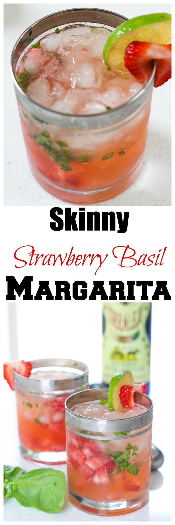 Skinny Strawberry Basil Margarita - A light, refreshing, cocktail that is only 130 calories!