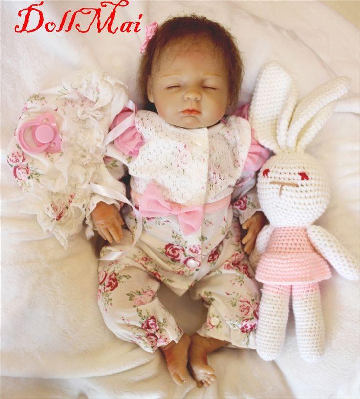 "81.89$  Buy here  - "" DollMai reborn babies dolls toys 18"""" real sleeping silicone reborn dolls lifelike soft touch bebe de silicone reborn bonecas"""