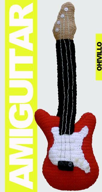 Guitarra Amigurumi - Patrón Gratis en Español aquí: http://ohvillo.blogspot.com.es/2012/06/guitarra-electrica-de-amigurumi.html