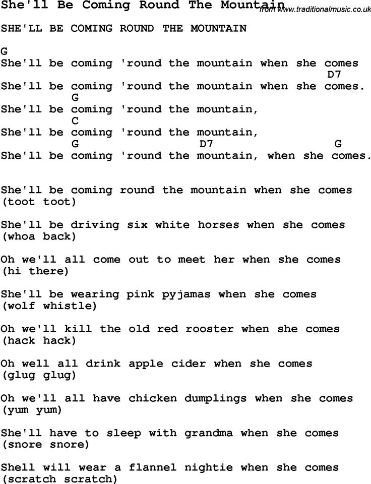 Summer-Camp Song, Sheu0026#39;ll Be Coming Round The Mountain, with lyrics and chords for Ukulele ...
