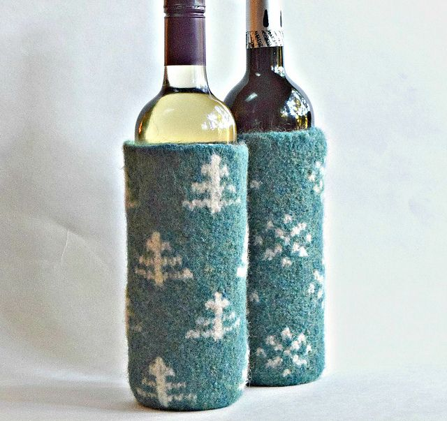 Ravelry: Winter Holiday Felted Wine Cozies pattern by Cindy Pilon