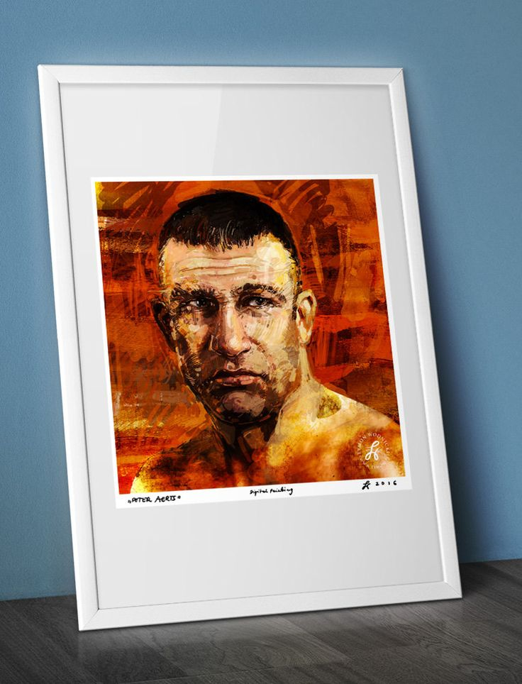 Portrait of PETER AERTS - famous kick boxer, canvas, celebrity, artwork, decor, karate poster, best gift, watercolour by ARTandROLL on Etsy