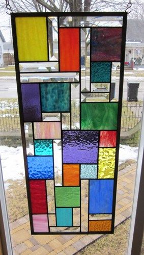 Zephyr stained glass window panel abstract geometric ebsq for Window design 4 by 4