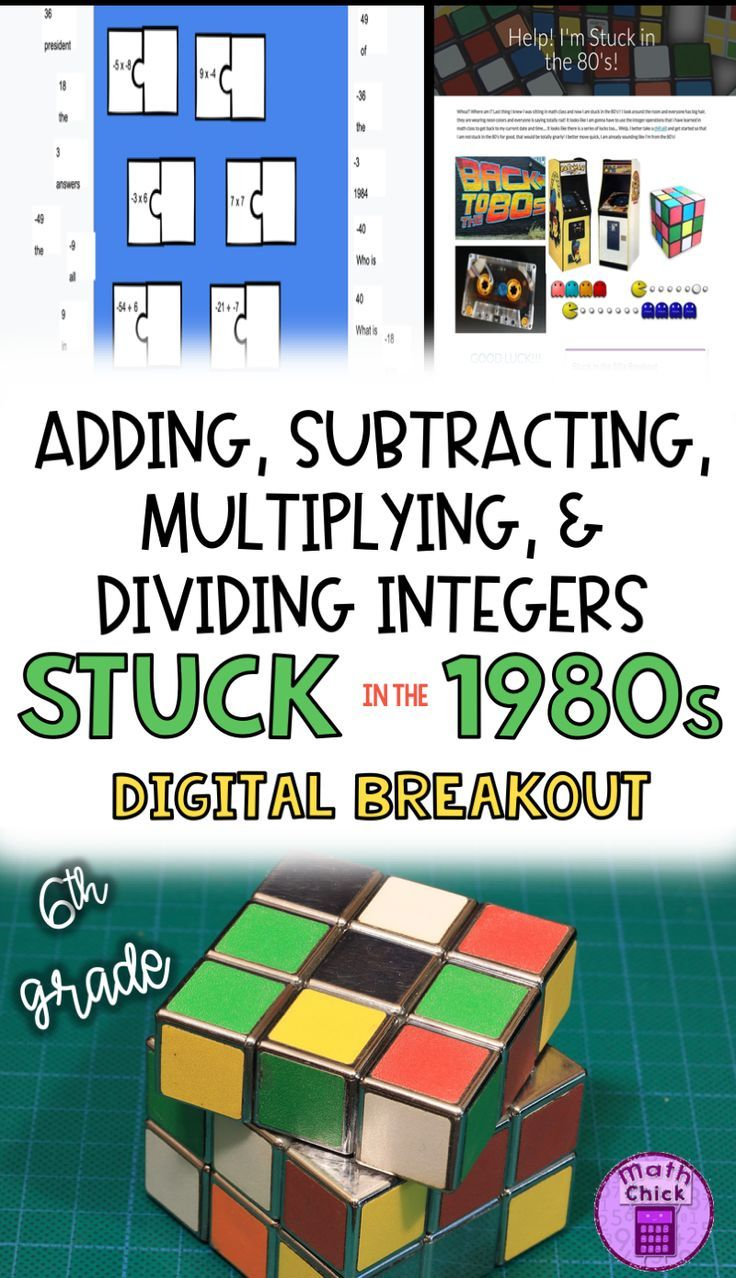 Students Will Love This Engaging And Fun Stuck In The 80 S Digital Escape Room Breakout For Reinforcing Adding Subtrac Integers Math Clipart Dividing Integers Adding and subtracting integers escape