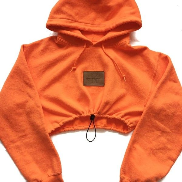 Reworked CK Patch Crop Hoody Orange ($45) ❤ liked on Polyvore featuring tops, orange top, orange crop top, cut-out crop tops, cropped tops and red top