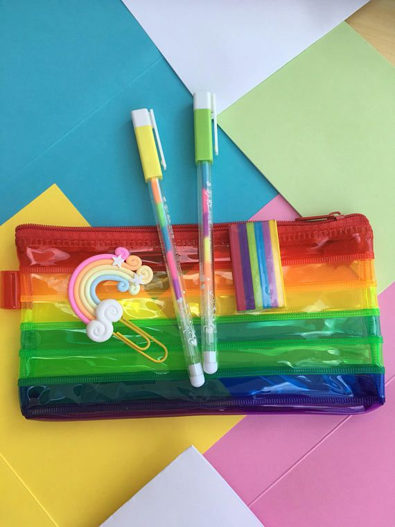 Stationery Set - School Stationery - Pencil Case - Pens - Rubber - Eraser - Cute Stationery - Rainbow Stationery - Gift Set - Gift Idea