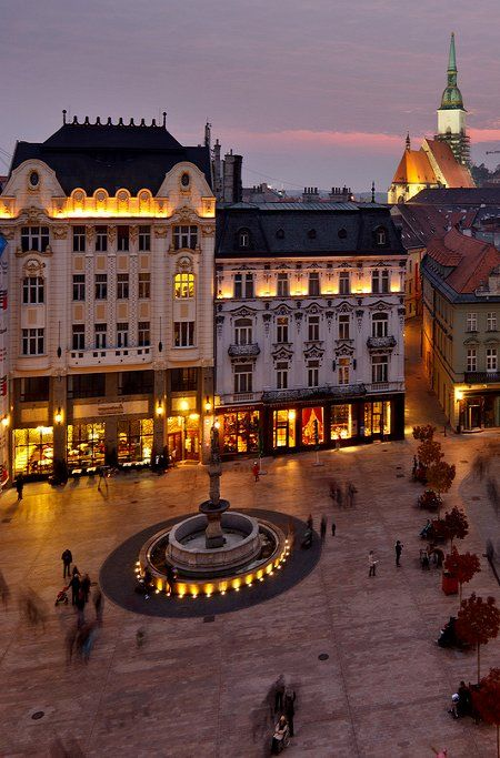 Main Square in Bratislava at night, Slovakia (by pxls.jpg on Flickr)