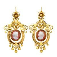 1870 Archaeological Revival 22k Yellow Gold and Hardstone Cameo Dangle Earrings