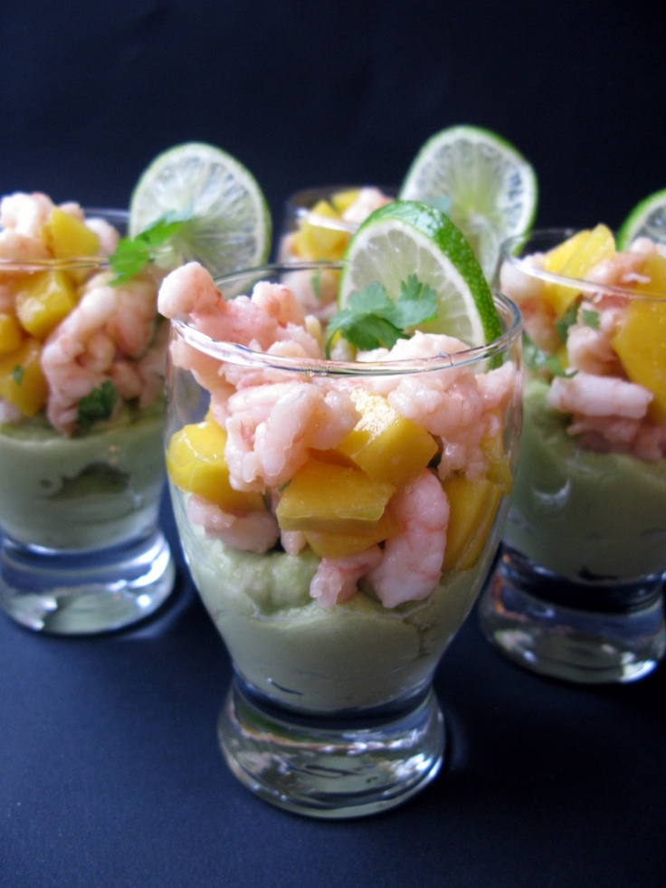 SHRIMP, MANGO  GUACAMOLE VERRINES