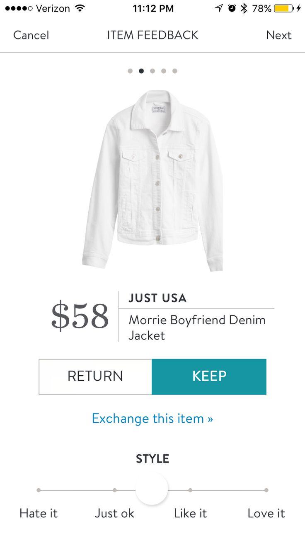Just USA - Morrie Boyfriend Denim Jacket - White - Stitch Fix 2017