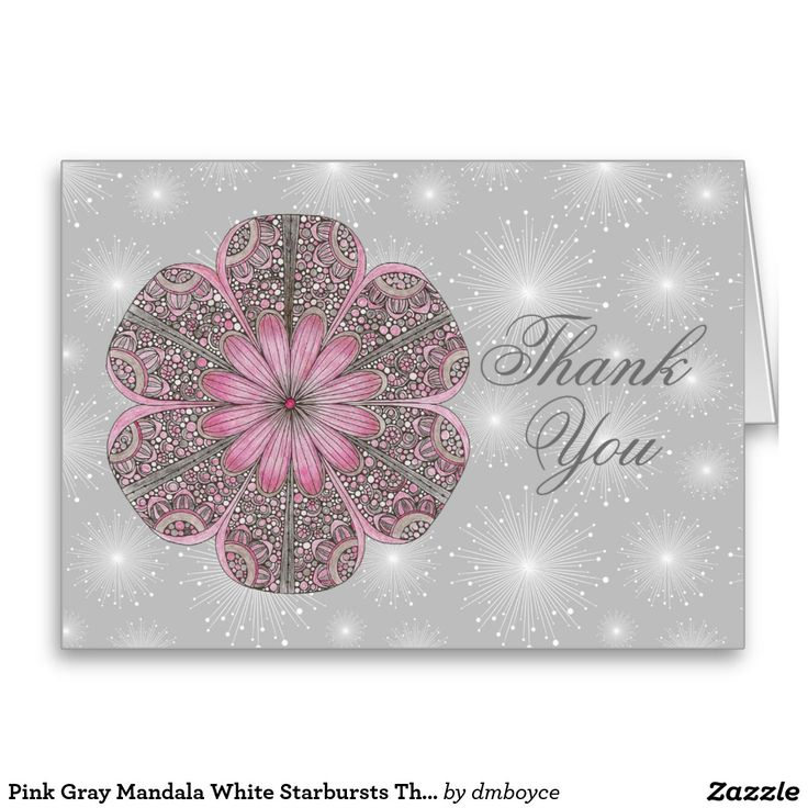wedding custom thank you cards%0A Shop Pink Gray Mandala White Starbursts Thank You Card created by dmboyce