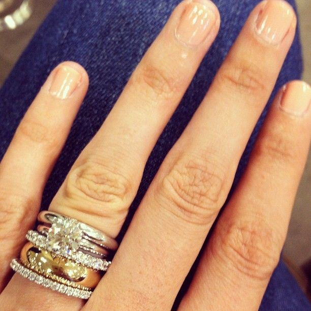 love the stacked look not a fan of the thick gold band though - Stacked Wedding Rings