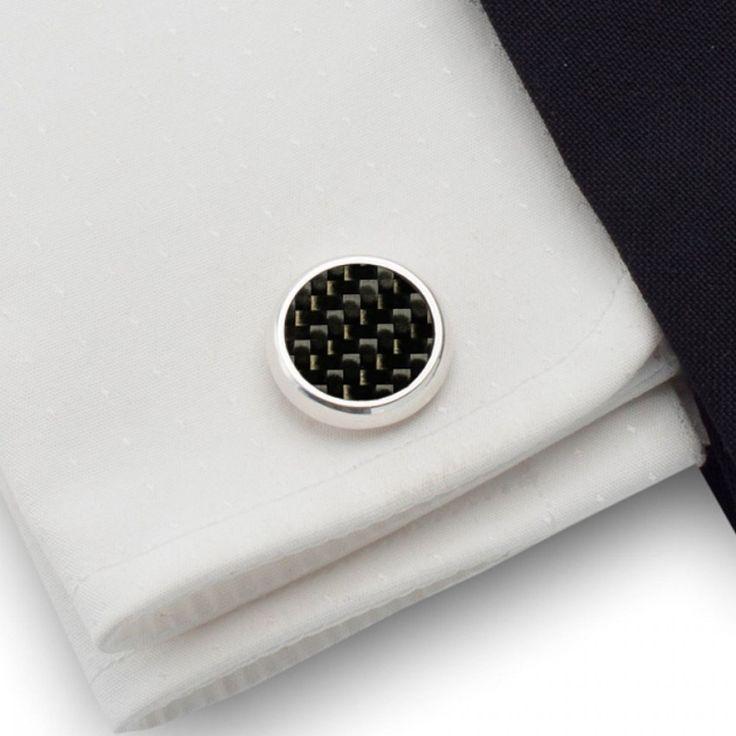 Ślubne spinki do mankietów | Spinki do mankietów z włóknem węglowym ( Carbon )  | srebro 925 | ZD.43